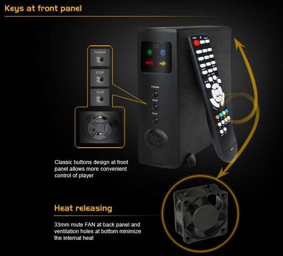 MP-800DVR - мультимедийный комбайн, HD1080P, HDMI, 33mm FAN