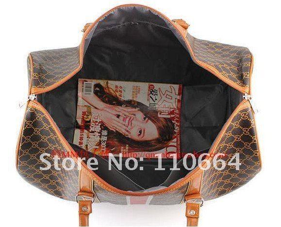 Вместительная дорожная сумка из полиуретана QM8003, черно-коричневая, с цветочным узором.
