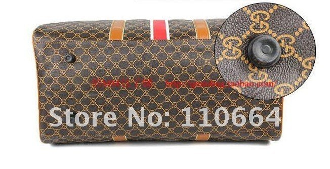 Вместительная дорожная сумка из полиуретана QM8003, черно-коричневая, с цветочным узором