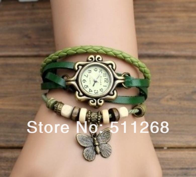 Женские наручные часы с винтажным кожаным ремешок