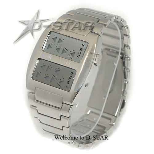 Мужские бинарные светодиодные часы наручного ношения, серебристые
