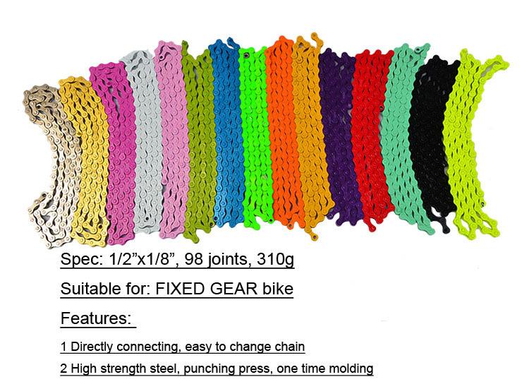 Велосипедная цепть,15 цветов, 98 звеньев