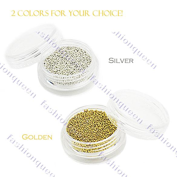 Золотой и серебряный бисер для ногтей