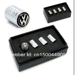 Колпачок с логотипом VW для воздушного клапана колеса, цвет черный, металл, 4шт