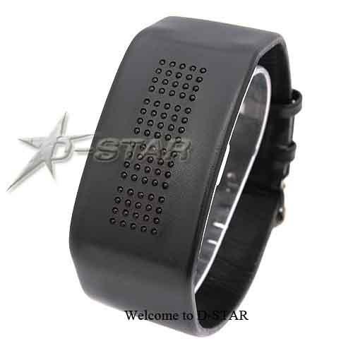 Женские наручные часы двухцветные, LED, кожаный ремешок