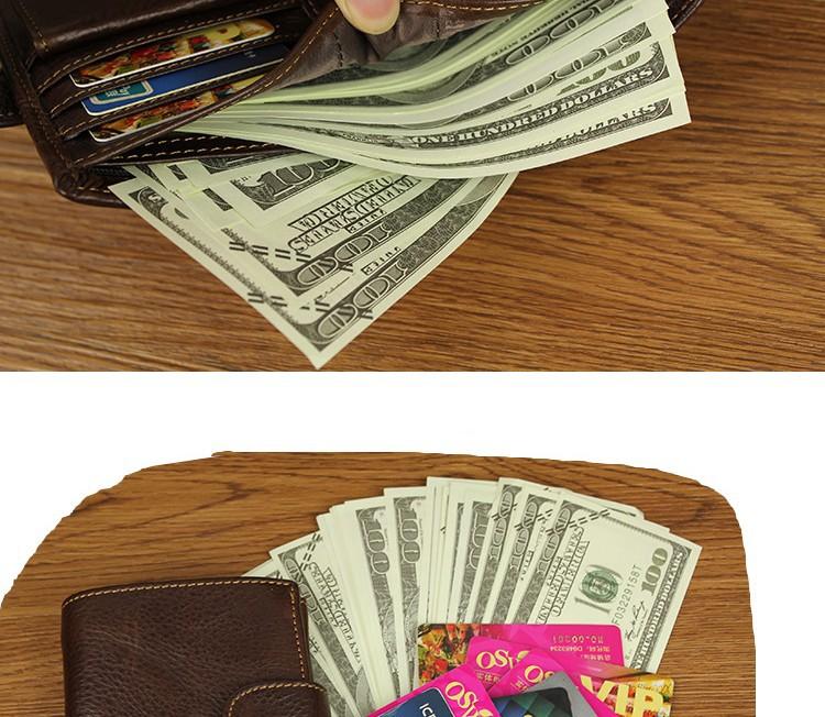 Кажанный мужской ретро кошелёк