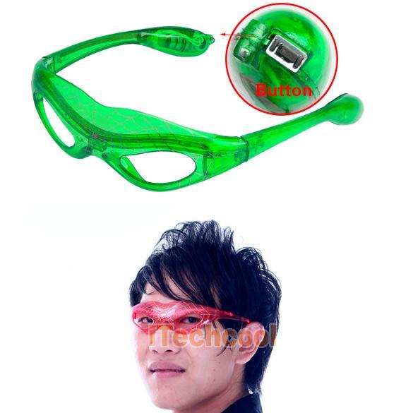 Светодиодные, мерцающие очки, LED, зеленые