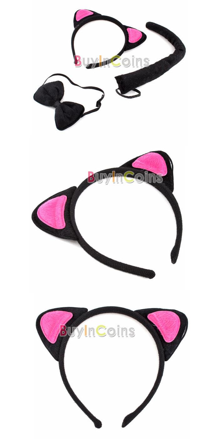 Карнавальный костюм Кошка (уши + хвост + бантик)