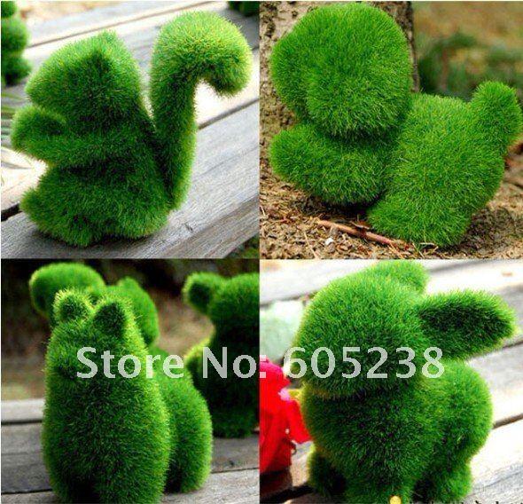 Дизайнерская искусственная трава, 12шт, формы: белка, кролик, собака