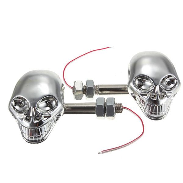 Хромированный индикатор поворотов в виде черепа, 12V, для мотоцикла