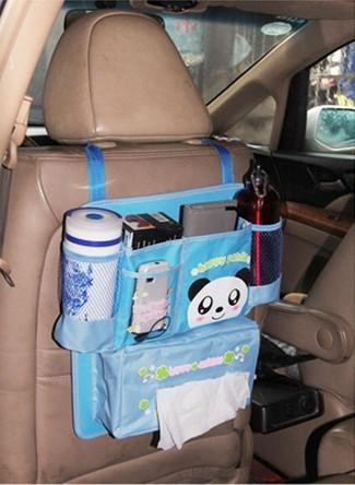 Автомобильная навесная сумка для хранения, крепится к сидению, текстиль, несколько отделов