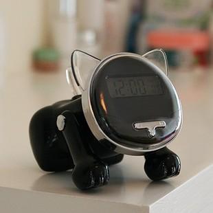 Говорящие часы с будильником и подсветкой в виде кошки