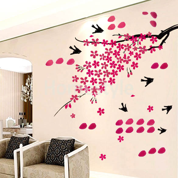Декоративная наклейка для дома 70x 50см, изображение деревьев и птиц