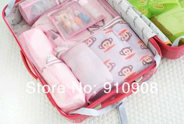 Комплект дорожных футляров для хранения вещей, 4шт, Розовый / Синий / Коричневый