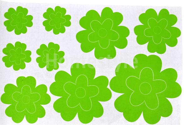 Наклейка для домашнего декора 58 x 19см, зеленая, с изображением цветов