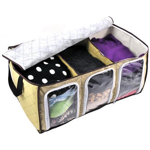 Бамбуковый органайзер для одежды с прозрачными вставками, 60х35х30 см