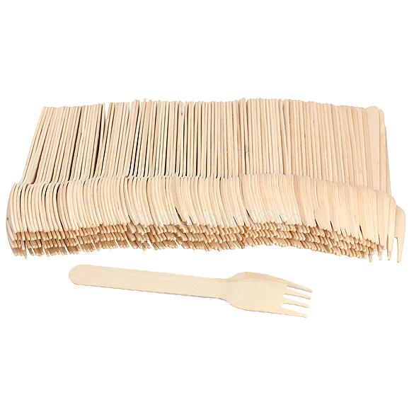 Деревянные одноразовые вилки, 100 шт.