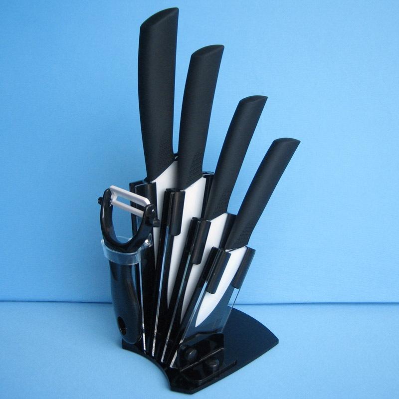 Набор керамических ножей с овощечисткой и держателем + точилка в подарок