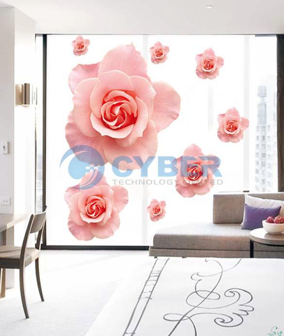 Наклейка на стену 3D в виде розы