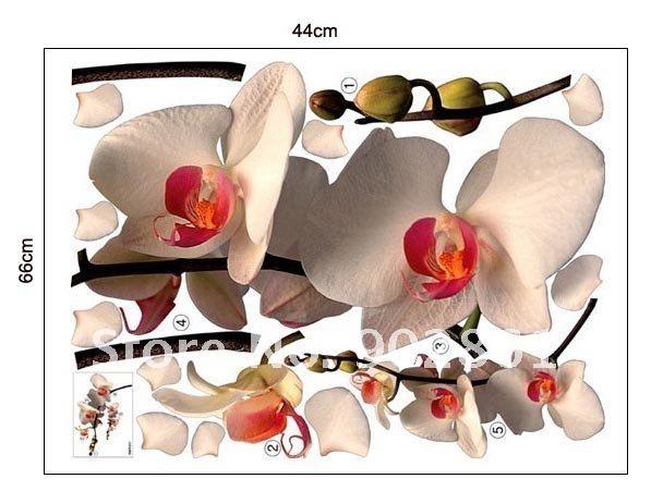 Настенная наклейка в виде белой орхидеи