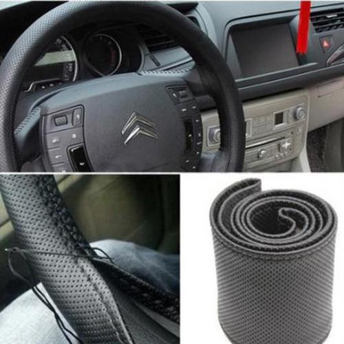 OEM - Чехол для рулевого колеса, автомобильный, универсальный, 3 цвета, диаметр 37-38 см, 100% кожа