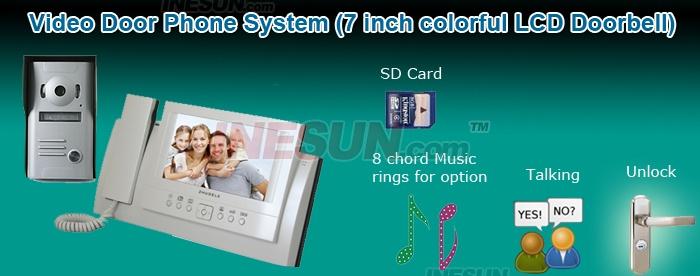 Цифровой дверной глазок – ЖК дисплей 7 дюймов, водонепроницаемый корпус IP56, SD-карта