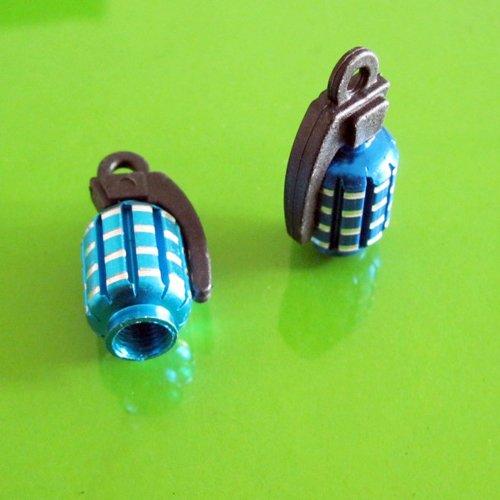 Колпак в виде гранаты для воздушного клапана колеса, цвет синий, металл