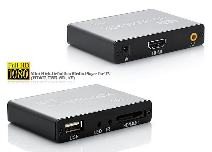 MP013 – цифровой видеоплеер, Full HD 1080P, HDMI, AV, SD/MMC, USB Host