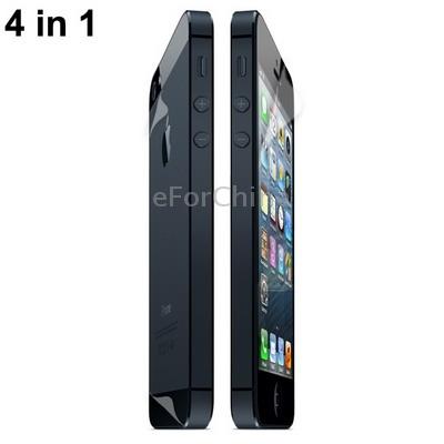 4-в-1 Защитные пленки для iPhone 5 + Ткань для очистки