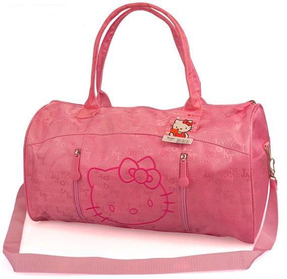 Модная большая дорожная сумка HelloKitty розовая, для ношения на плече и в руках
