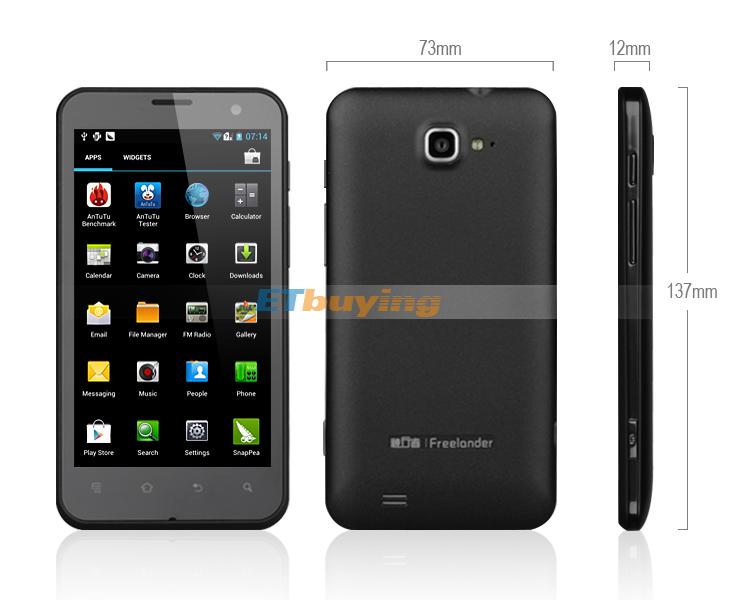 Freelander I20 - смартфон, Android 4.0.3, Samsung Exynos 4412 Quad Core (4x1.4GHz), HD 4.7