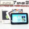 "Pipo S3 - планшетный компьютер, Android 4.1.1, 7"" IPS, Rockchip RK3066 (2x1.6GHz), 1GB RAM, 8GB ROM, Wi-Fi, HDMI, 2MP задняя камера, 0.3MP фронтальная камера"
