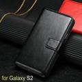 Кожаный чехол для Samsung Galaxy S2 с отделением для пластиковых карт и купюр, и подставкой