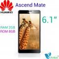 "Huawei Ascend Mate - смартфон, Android 4.1, 6.1"" HD IPS, HiSilicon K3V2 (4 х 1.5 ГГц), 2ГБ RAM, 8ГБ ROM, поддержка карт microSD/TF, 3G, Wi-Fi, Bluetooth, GPS, GLONASS, FM-радио, основная камера 8МП и фронтальная камера 1МП"