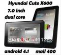 "Hyundai X600 - планшетный компьютер, Android 4.1.1, 7"" IPS, Rockchip RK3066 (2x1.6GHz), 1GB RAM, 8GB ROM, Wi-Fi, Bluetooth, HDMI, 0.3MP фронтальная камера"