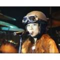 Кожанный мотоциклетный шлем с защитными очками