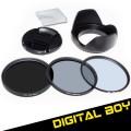 Набор: UV-фильтр 58мм, циркулярно-поляризационный фильтр 58 мм, нейтрально-серый фильтр ND2-ND400, бленда, крышка объектива; для Canon 18-55, Nikon 50/1.4G