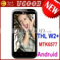 "ThL W2+ - смартфон, Android 4.0.4, MTK6577 (2x1.2GHz), qHD 4.3"" TFT LCD, 512MB RAM, 4GB ROM, 3G, Wi-Fi, Bluetooth, GPS, 8MP задняя камера, 0.3MP фронтальная камера"