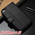 Кожаный чехлол для iPhone 4 с отделением для пластиковых карт и купюр, и подставкой