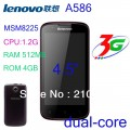 "Lenovo A586 - смартфон, 2 SIM-карты, Android 4.0, 4.5"" IPS 480х854, MSM8225 Simultaneous (2 х 1.2 ГГц), 512МБ RAM, 4ГБ ROM, поддержка карт microSD, 3G, Wi-Fi, Bluetooth, GPS, FM-радио, основная камера 5МП и фронтальная камера 0.3МП"