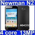 "Newman N2 - смартфон, Android 4.0.4, Samsung Exynos 4412 Quad Core (4x1.4GHz), HD 4.7"" IPS (Gorilla Glass), 1GB RAM, 8GB ROM, 3G, Wi-Fi, Bluetooth, GPS, 13MP задняя камера, 2MP фронтальная камера"