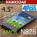 "Amoi N828 - смартфон, 2 SIM-карты, Android 4.2.1, 960х540 4.5"" IPS, MTK6589 (4 х 1.2ГГц), 1ГБ RAM, 4ГБ ROM, 3G, Wi-Fi, Bluetooth, GPS, 2 камеры 8 и 3 МП"
