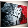 """Современная живопись маслом на холсте """"Дерево и облака"""" группа из 3х картин"""
