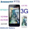 "Lenovo P770 - смартфон, 2 SIM-карты, Android 4.1.1, qHD 4.5"" IPS, MTK6577 (2 х 1.2 ГГц), 1ГБ RAM, 4ГБ ROM, поддержка карт TF, 3G, Wi-Fi, WAPI, Bluetooth, GPS, FM-радио, основная камера 5МП и фронтальная камера 0,3МП, 3500mAh"