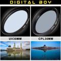 Набор: УФ фильтр 30 мм, циркулярно-поляризационный фильтр 30 мм для Canon; Nikon; Sony