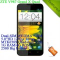 "ZTE V987 Grand X - смартфон, Android 4.1, MTK6589 Quad-core 1.2Ghz, 5.0"", 2 SIM-карты, 1ГБ RAM, 4ГБ ROM, поддержка карт microSD, WCDMA/GSM, Wi-Fi, Bluetooth, GPS, FM-радио, основная камера 8МП и фронтальная камера 1МП"
