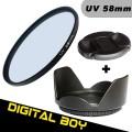 Набор: УФ фильтр 58 мм,бленда, крышка объектива для Canon 18-55; Nikon 50/1.4G