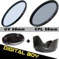 набор: 58 мм UV-фильтр; 58 мм бленда; 58 мм поляризационный CРL-фильтр; 58 мм крышка объектива для Canon 18-55; Nikon 50/1.4G