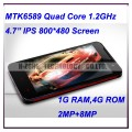 Neken N5  - смартфон, Android 4.2, MTK6589 Quad Core 1.2GHz, 4.7 IPS, 2 SIM-карты, 1ГБ RAM, 4ГБ ROM, поддержка карт microSD, WCDMA/GSM, Wi-Fi, Bluetooth, GPS, FM-радио, основная камера 8МП и фронтальная камера 2МП