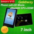 "Bmorn V15 - планшетный компьютер, Android 4.0.3, 7"" TFT LCD, All Winner A10 (1.2GHz), 512MB RAM, 8GB ROM, Wi-Fi, 3G, HDMI, 0.3MP фронтальная камера, 2MP задняя камера"